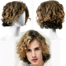 Handsome Quiff Wig for Men's Male Hairdo Can restyle Short Curly Hair Wig Toupee