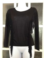 Atmosphere Black Fringe Top VGC Size 8 Cow Girl