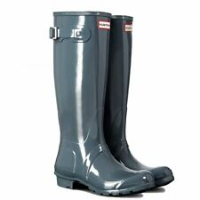 WOMENS ORIGINAL TALL GLOSS GRAPHITE HUNTER WELLIES WELLINGTONS RAIN BOOTS UK 3