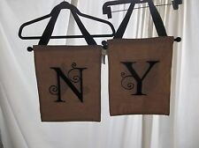 Create, Decorate!  12X12 Burlap Banner w/ Black Embroidered Initial N or Y NWT!