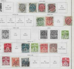17 Denmark Stamps from Quality Old Antique Album 1874-1912