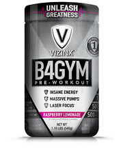 VIZINX B4GYM Rasp Lemon #1 Pre-Workout Formula with BCAA's Pump & Focus Factors
