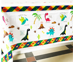 Dinosaurs Kids Table Cover Cloth Tableware Party Supplies plastic 108CM X180CM
