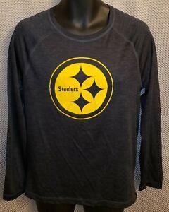Pittsburgh Steelers Dark Gray Majestic Polyester LS Workout T-Shirt - Mens Mediu