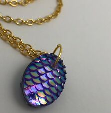 Mermaid Egg / Dragon Egg Scales Gold Plt  Necklace Pendant Purple Pink AB I030