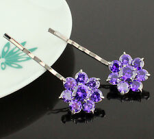 2pcs Daisy Purple CZ Cubic Zirconia Crystal Hair Barrette Clips Bobby Pins B169p