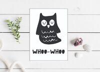 owl greeting card birthday  5x7 inch blank monochrome black white