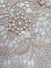 ASIATIC LILY FLORAL 3D EMBOSSED GUIPURE LACE FABRIC - Taupe - BY YARD DRESS GOWN