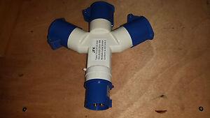16 amp 240 volt plug 16 amp splitter socket  3 way 16a/230volt or 16a/110volt