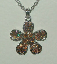 "LOVELY TOPAZ BROWN CRYSTAL FLOWER PENDANT 18"" SILVER PLATED CHAIN"