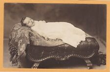 Real Photo Postcard RPPC - Baby Reclining on Miniature Chaise