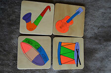 HANDMADE WOODEN  SET 4 MUSICAL INSTRUMENTS  PUZZLES