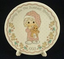 "1993 Precious Moments 4"" Collector Plate Wishing You The Sweetest Christmas"