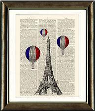 Antique Book page Art Print  The Eiffel Tower & Hot Air Balloons Paris Wall Art
