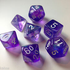 Chessex Dice Poly - Borealis Purple w/ White - Set Of 7- 27407 - Free Bag! DnD