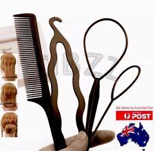 4x Pcs Hair Styling Tools Comb Clip Braid Ponytail Topsy Tail Bun Maker Mega Set