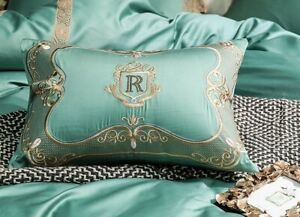 Green Egyptian Cotton Gold Lace Embroidery Palace Bedding Set Duvet Cover Sheet