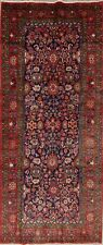 One-of-a-kind All-Over NavyBlue Sultanabad Oriental Vintage Wool Runner Rug 4x11