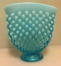 Vintage Hobnob Raised Dot Blue Milk Glass Vase
