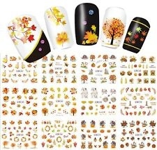 Nail Art Stickers Decals Transfers Autumn Leaves Thanksgiving Turkey Scarecrow