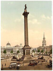 Trafalgar Square and National Gallery London Vintage photochrome print ca. 1890