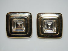VINTAGE COUTURE S.A.L. SWAROVSKI GOLD TONED METAL & CLEAR STONE POST EARRINGS