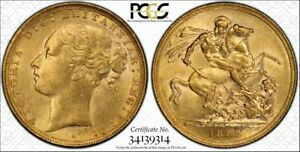 1885S St.George Reverse Sovereign in PCGS AU58