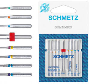 Schmetz 130/705 H Staerke 70-10 Nadelsortiment Nähmaschine Zwillingsnadel