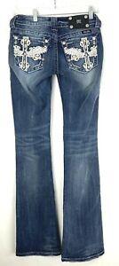 MISS ME Womens NWT Dark Wash Denim Embellished Crosses Boot Cut Jeans sz 28 🔥