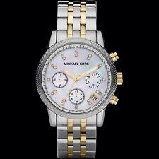 New Michael Kors MK5057 Ritz chronograph two tone gold silver women's watch +box