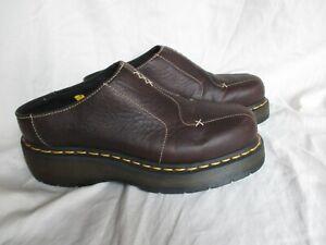 Dr Martens Dark Brown Slip On Clogs Air Cushion Sole Resistant Work Safe Size 7