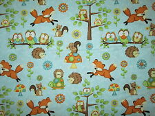 FOX FOXES OWLS HEDGEHOGS MUSHROOM SQURRELS BLUE COTTON FABRIC FQ