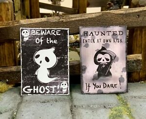 """Dolls House Signs """"Beware of the Ghost"""" & """"Haunted, Enter at Own Risk"""" Halloween"""
