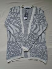 BNWT £16 Grey/White silver abstract print edge 2 edge soft touch cardigan UK 10