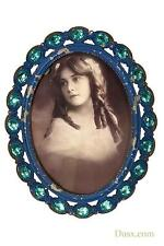 Dusx Antique Blue Diamante Metal & Glass Oval Picture Photo Frame 12.5 X 16 Cm