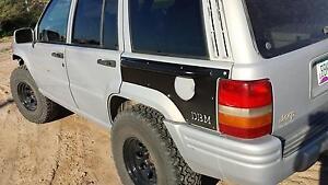 Jeep Grand Cherokee ZJ Rear Quarter Panel Armor with Rubrail