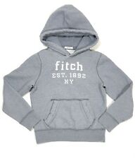 Abercrombie & Fitch Kids Boys Muscle Logo Pullover Hoodie Gray Cotton Medium