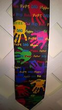 RALPH MARLIN CHILDREN'S HAND PRINTS LOVING DAD, PAPPA, FATHER'S DAY NOVELTY TIE