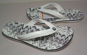 Crocs Size 11 CROCBAND CARDIO WAVE FLIP White Black Sandals New Men's Shoes