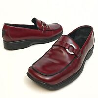 Coach Women's Penny Loafer Shoes Size 6.5B Red Patent Leather Comfort Wedge