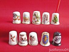 Set of 10 Mixed Christmas and More Collectors Thimbles - No. 2