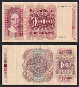Norvegia 100 kroner 1989 BB/VF  C-05