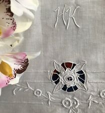 Excellent Antique Embroidered Cutwork Lace Sheet Cotton Initials HK Roses SB