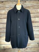 Brooks Brothers Made in England Coat Size Medium Dark Blue Wool Heavy w/ Liner