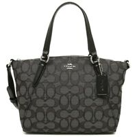 BRAND NEW COACH (F27580) SIGNATURE BLACK SMOKE CANVAS KELSEY SATCHEL BAG HANDBAG