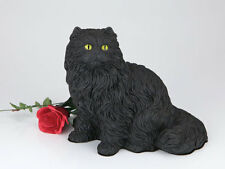 Small/Keepsake 62 Cubic Ins Black Longhair Cat Resin Urn for Cremation Ashes
