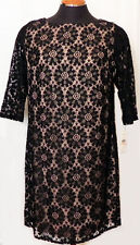 Cocktail Dress Black Lace NWT Womens 14W Shift Lace Overlay 3/4 Lace Sleeves