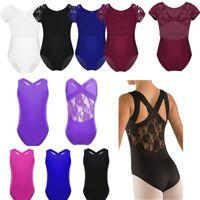 Girls Gymnastics Leotard Lace Ballet Dance Dancewear Bodysuit Jumpsuit Costume