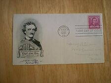 HAND SIGNED VINTAGE FDC 1948 EDGAR ALLEN POE-BY ROBERT BLY-MYTHOPOETIC MOVEMENT