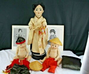 """3 REPRODUCTION SIMON & HALBIG #1329 JDK 243 ORIENTAL  ALL BISQUE DOLL 19"""" Tall"""
